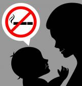 Mom and baby with a prohibiting smoking sign — Stock Vector