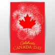 Maple leaf with firework poster for the national day of Canada — Stock Vector #75982715