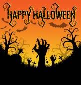 Halloween background with zombies hand and bat — Stock Vector