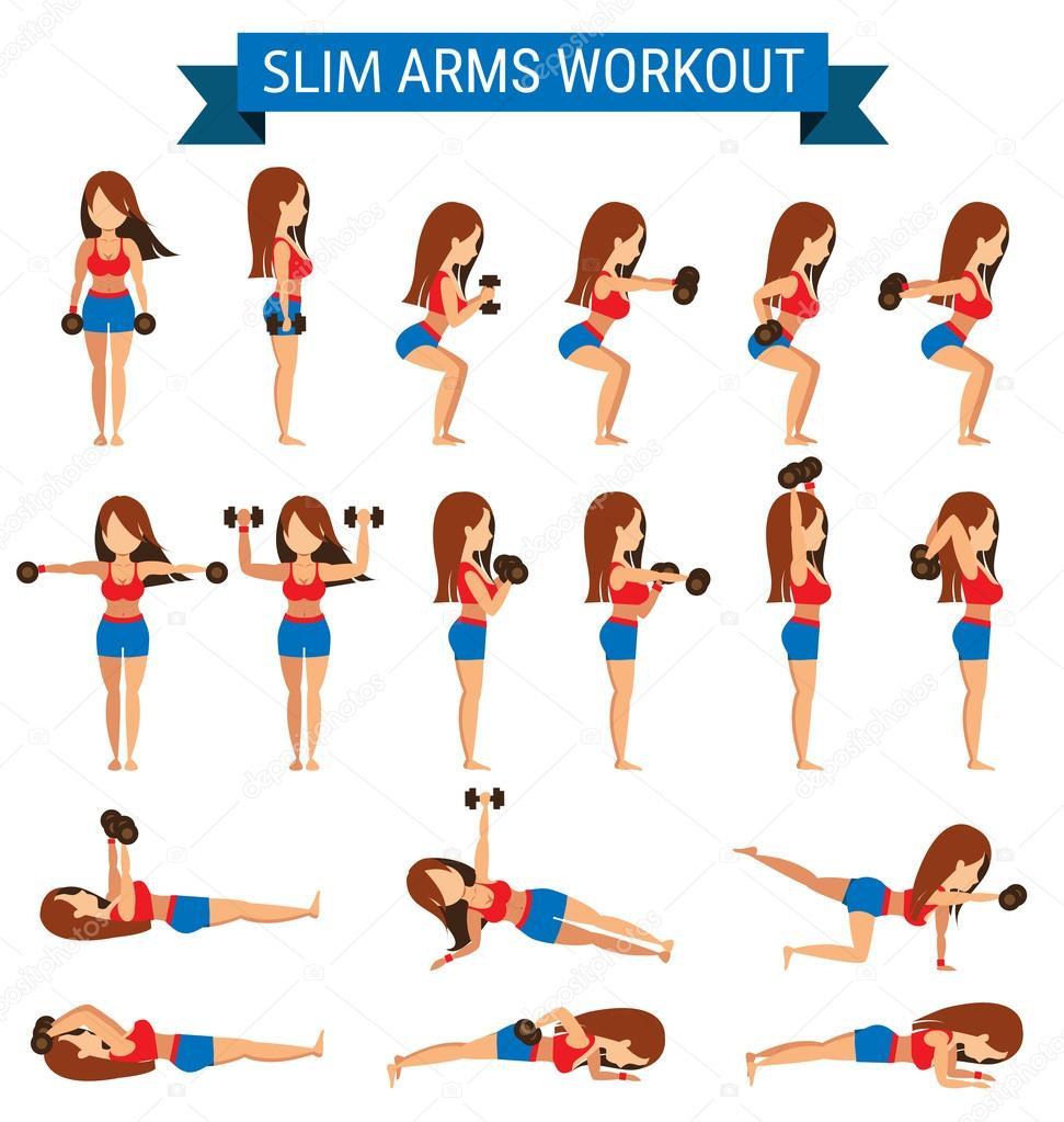 Conjunto de cardio exercício para treino de braços magro ...