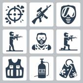 Paintball icons set — Stock Vector