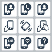 Mobile phone functions icons set — Stock Vector