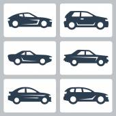 Cars icons set, side view — Stock Vector