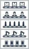 Conveyor belt silhoettes — Stock Vector