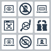 Computer security icons set — Stock Vector