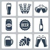 Beer related icons set — Stock Vector