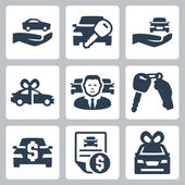 Car dealer icons set — Stock Vector