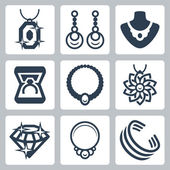 Jewelry related icons set — Stock Vector