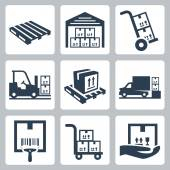 Warehouse related icons set — Stock Vector