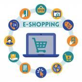 Online shopping related infographic — Stock vektor