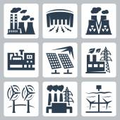 Power plants icons set — Stock Vector
