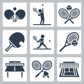 Tennis and badminton related icons set — Vettoriale Stock