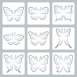 Butterflies icons set — Stock Vector #67125751