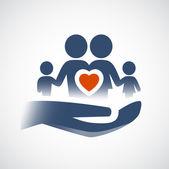 Hand holding family symbol — Stock Vector