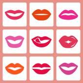 Women's lips icons — Stock Vector