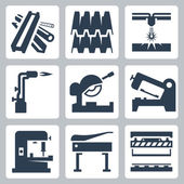 Metal cutting icons — Stock Vector