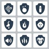 Protection and resistance icon set — Stock Vector