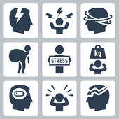 Stress and depression icons — Stock Vector
