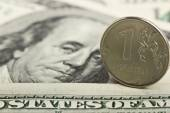 Russian ruble against the background of the Iron dollars — Stock Photo