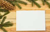 The spruce branches on a wooden board — Stock Photo