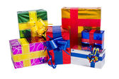 Multi-colored boxes with gifts — Stock Photo