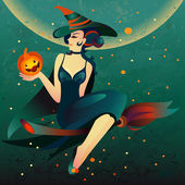 Halloween witch on a broomstick — Stock Vector