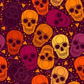Skull with polygonal ornament.Halloween . — Stock Vector