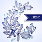 Blue watercolor flowers edging. — Stock Vector