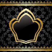 Vector black background with golden heraldic frame — Stock Vector