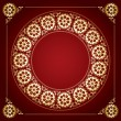 Red background with golden floral frame - vector — Stock Vector #56395935