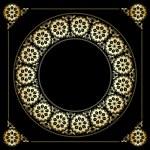 Black background with golden floral frame - vector — Stock Vector #56705379