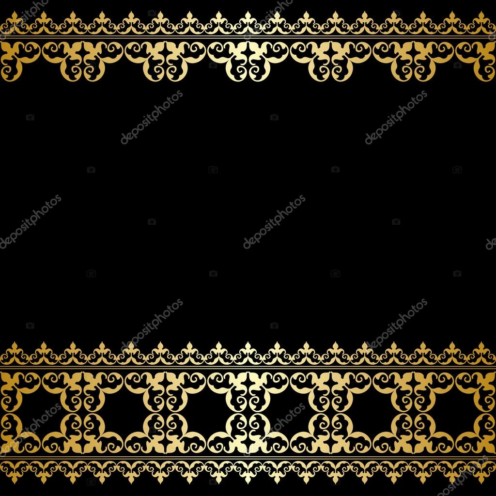 Download - Black and gold background with vintage border - vector ...