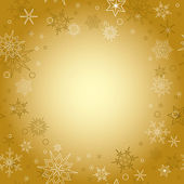Gold background - vector christmas card with snowflakes — Stock Vector