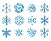 设置的蓝色雪花-矢量 — 图库矢量图片