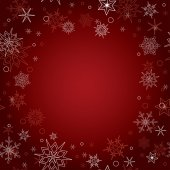 Red vector christmas background with snowflakes — Stock Vector