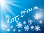 青のベクトルの背景 - 雪片でメリー クリスマス カード — ストックベクタ