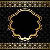 Golden ornament on black background - vector — Stock Vector