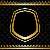 Golden frame and decorations on black background - vector — Stock Vector