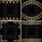 Backgrounds with gold decorations and rays - black vintage vecto — Stock Vector