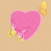 Valentine card - decorative heart with butterflies - vector — Stockvector