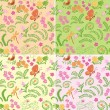 Floral seamless backgrounds with nature elements - vector set — Stock Vector #64604563