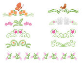 Floral decorative dividers - vector set — Stock Vector