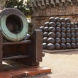 Elements of antique cannon and balls in Monte Carlo, Monaco — Stock Photo #64533643
