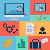 Set van platte ontwerp concept iconen voor web en mobiele diensten en apps. pictogrammen voor webdesign, seo, sociale media en pay-per-klik internet reclame. — Stockfoto