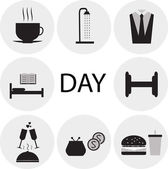 Flat icons morning, day, food, sports, shopping — Stock Photo