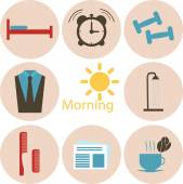 Morning time, morning occupation icons set. Flat design vector. — Stock Photo