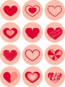 Heart set Icon Vector  Color Variations Valentine's Day, love — Stock Photo