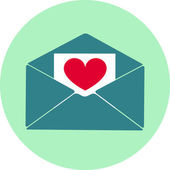 Vector icon love letter heart on paper, Valentine's Day — Stockfoto