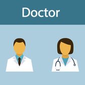 Doctor, medical staff, occupation, people, flat icon, vector — Stock Vector