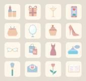 Donna, relazione, bellezza, moda, vendita ed acquisto icone piane di vettore — Vettoriale Stock